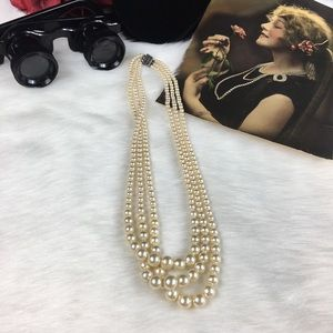 Vintage Jewelry - Vintage Faux Pearl 3-Strand Sterling Necklace